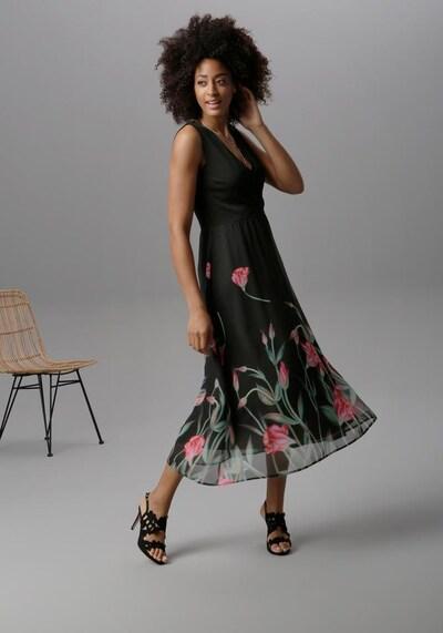 Aniston SELECTED Sommerkleid in jade / grenadine / schwarz, Modelansicht
