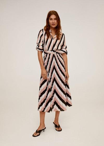 MANGO Kleid 'Heli' in altrosa / schwarz / naturweiß, Modelansicht
