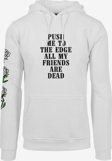 Mister Tee Hoody 'Push Me' in schwarz / weiß: Frontalansicht
