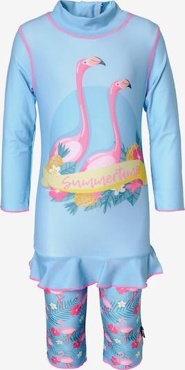SWIMPY Schwimmanzug in hellblau / gelb / pink / rosa, Produktansicht