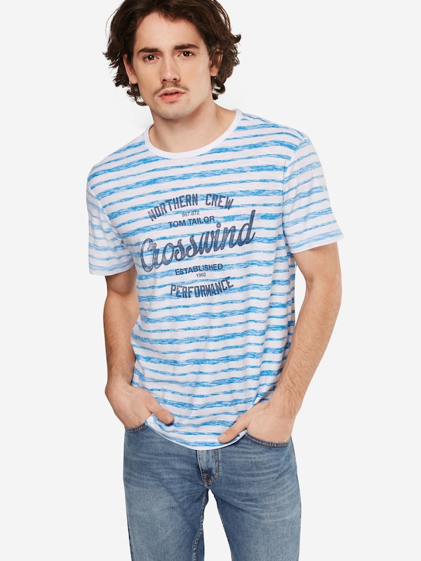 TOM TAILOR T-Shirt 'Striped with chest print'