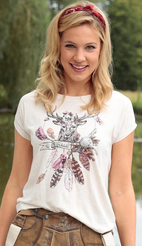 HAMMERSCHMID Trachtenshirt Damen mit Hirschdruck