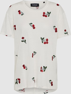 The Kooples Shirt 'CHERRY EMBROIDERY' in Kersrood / Wit