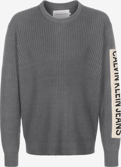 Calvin Klein Jeans Strickpulli ' Ribbed Sleeve Patch ' in grau, Produktansicht