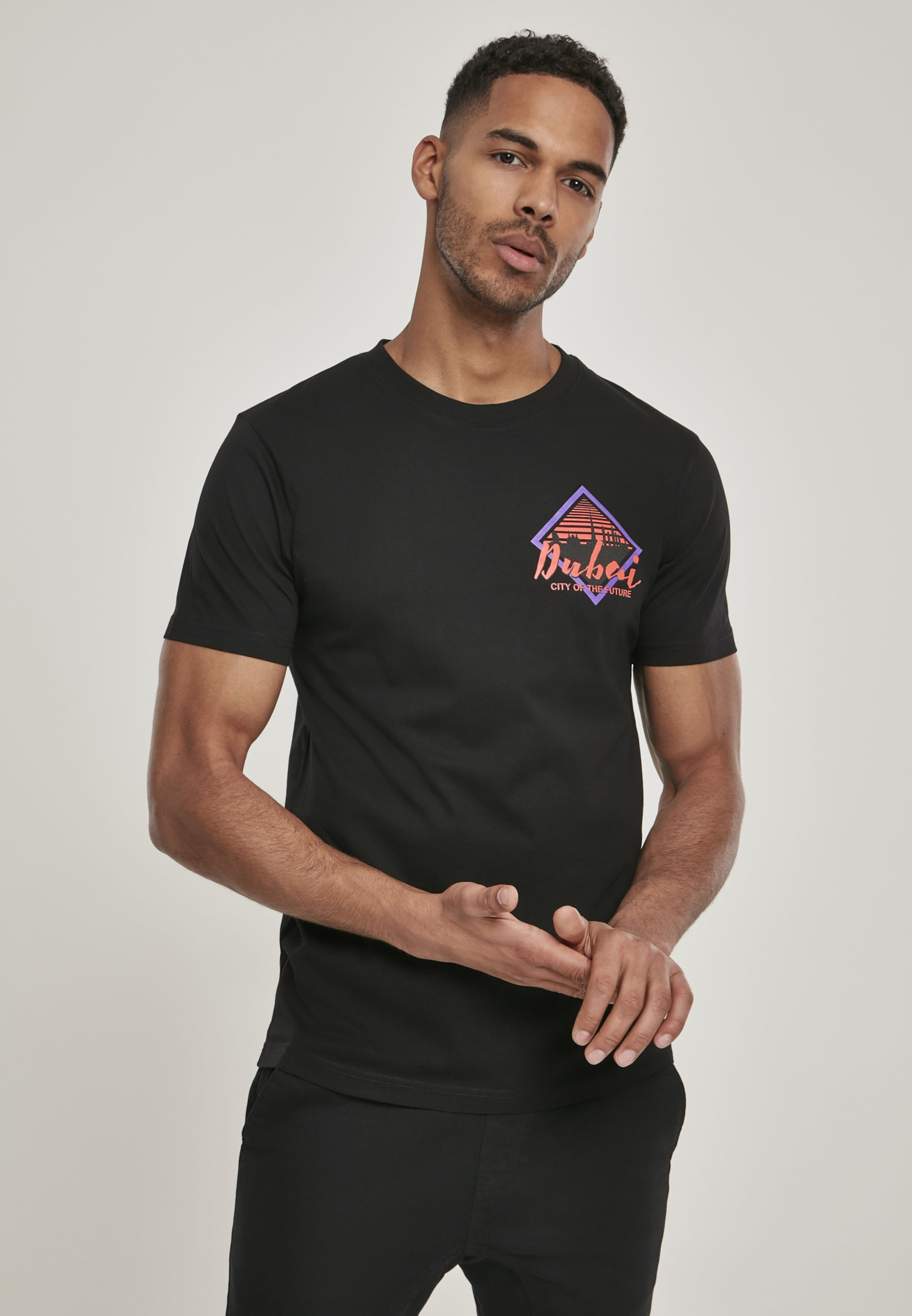 Mister Tee T-Shirt 'City Of The Future' in lila / rot / schwarz Jersey MT930-00007-0042