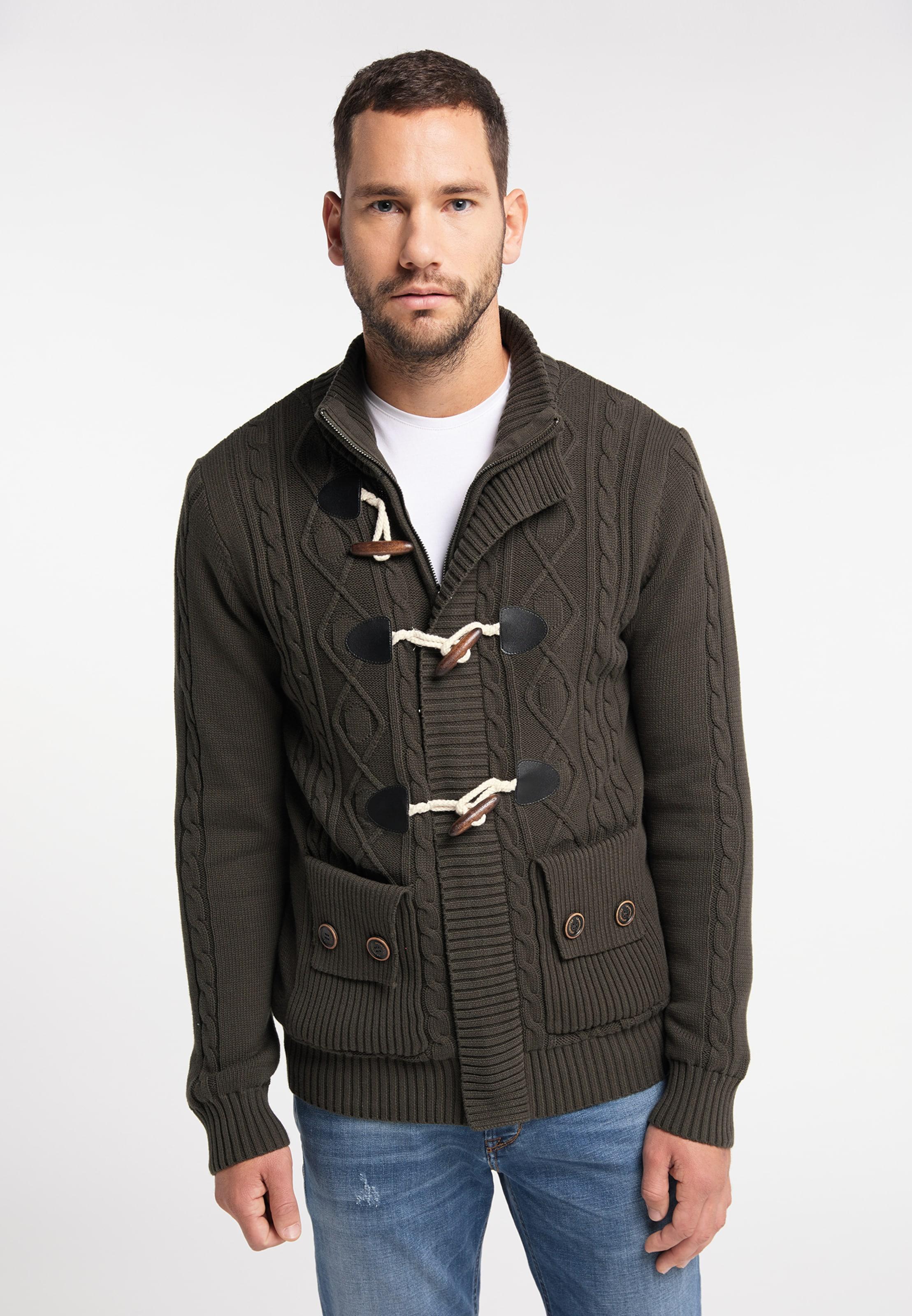 DREIMASTER Strickjacke 'Vintage' in khaki Baumwolle 4063523058893