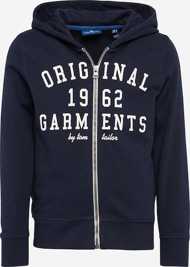 TOM TAILOR Sweatjacke 'hooded sweat jacket' in navy / weiß, Produktansicht