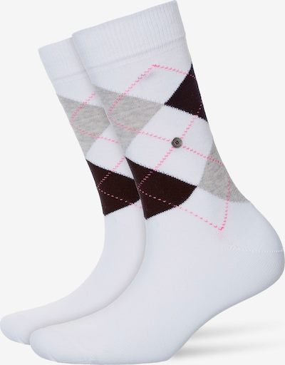 BURLINGTON Socke 'Queen Sock' in grau / schlammfarben / weiß, Produktansicht
