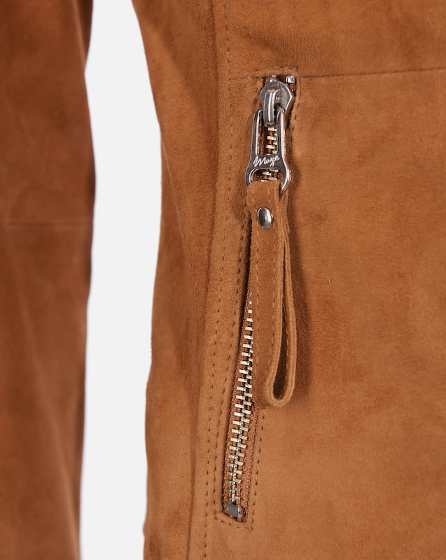 Maze Leather Jacket With Asymmetrical Zipper And Leather Stripes Aurora