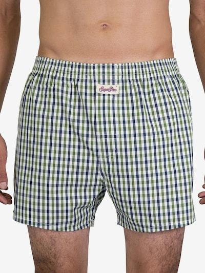 Sugar Pine Boxershorts 'Classic Check' in hellgrün / weiß, Modelansicht