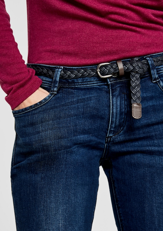 s.Oliver RED LABEL Shape Bootcut: Jeans mit Flechtgürtel