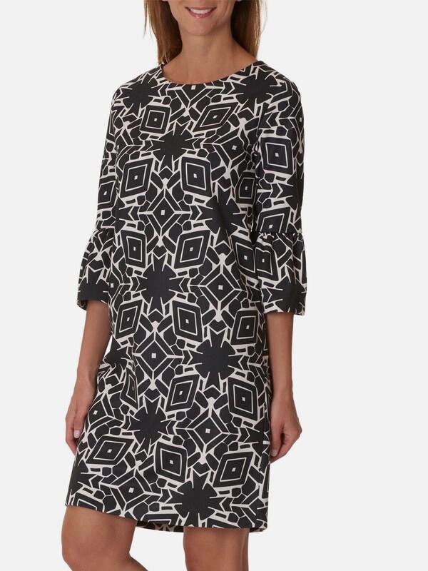 Betty & Co Kleid mit Trompetenärmeln und Allover Muster