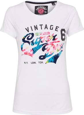 Superdry T-Shirt 'STACKER FLOCK AOP ENTRY TEE'