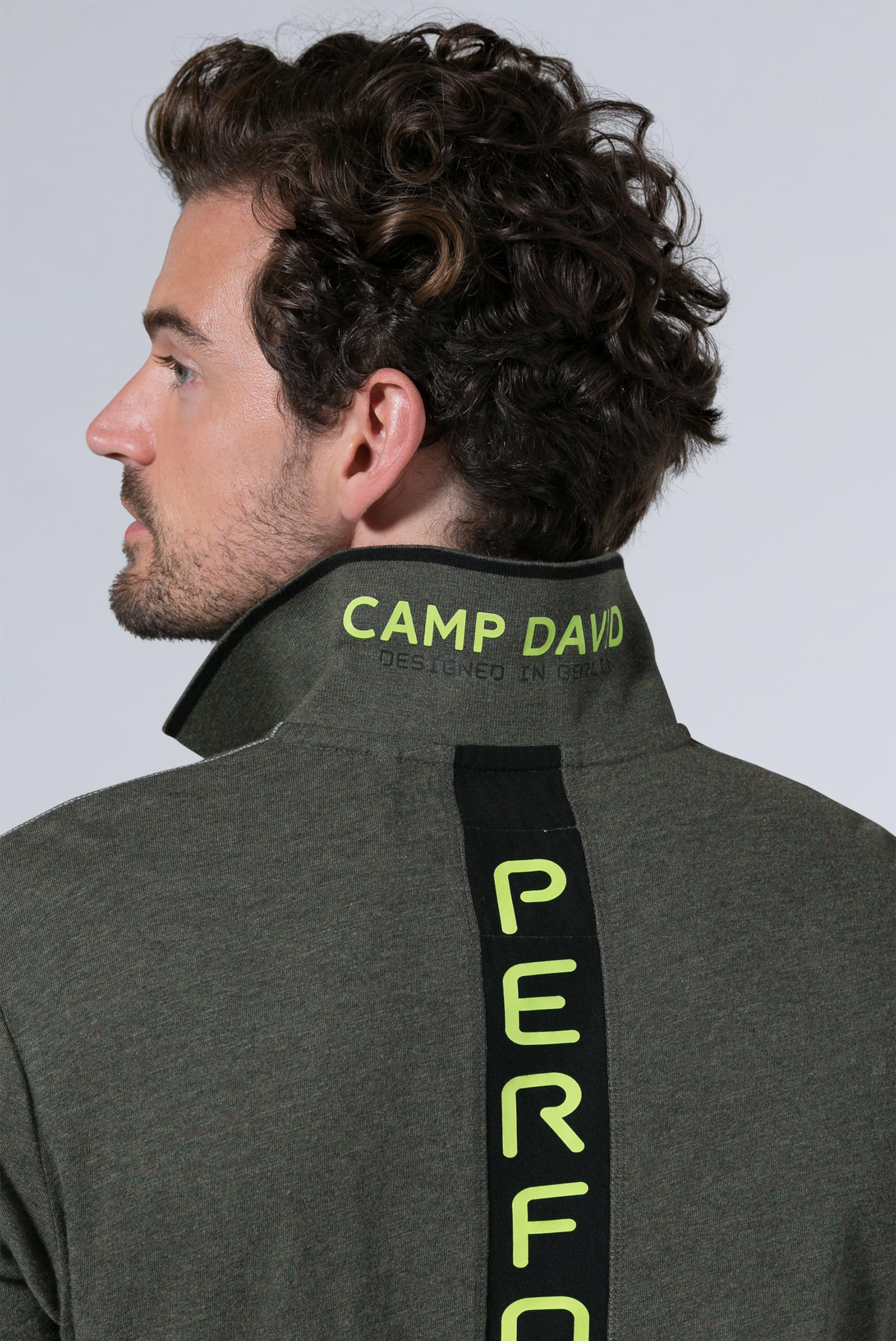 Dunkelgrün Aus Jersey Slub Camp Mit In David Polo Artworks v0Om8nwN
