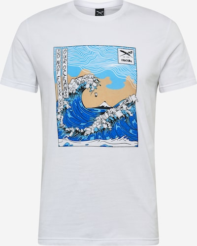 Iriedaily T-Shirt 'Trash Wave' en sable / bleu / bleu clair / blanc: Vue de face