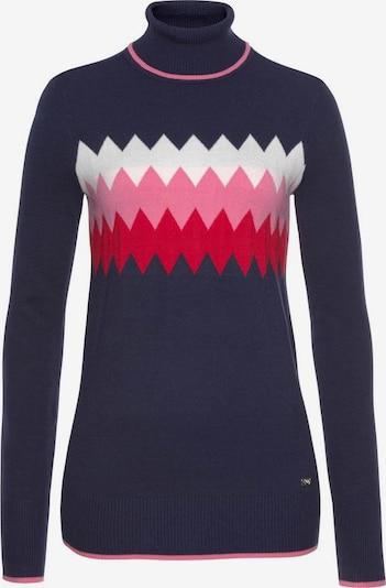 Tom Tailor Polo Team Pullover in nachtblau / pink / himbeer / weiß, Produktansicht