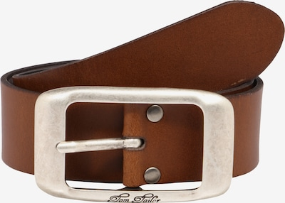 TOM TAILOR Ledergürtel 'used cow leather belt' in cognac: Frontalansicht