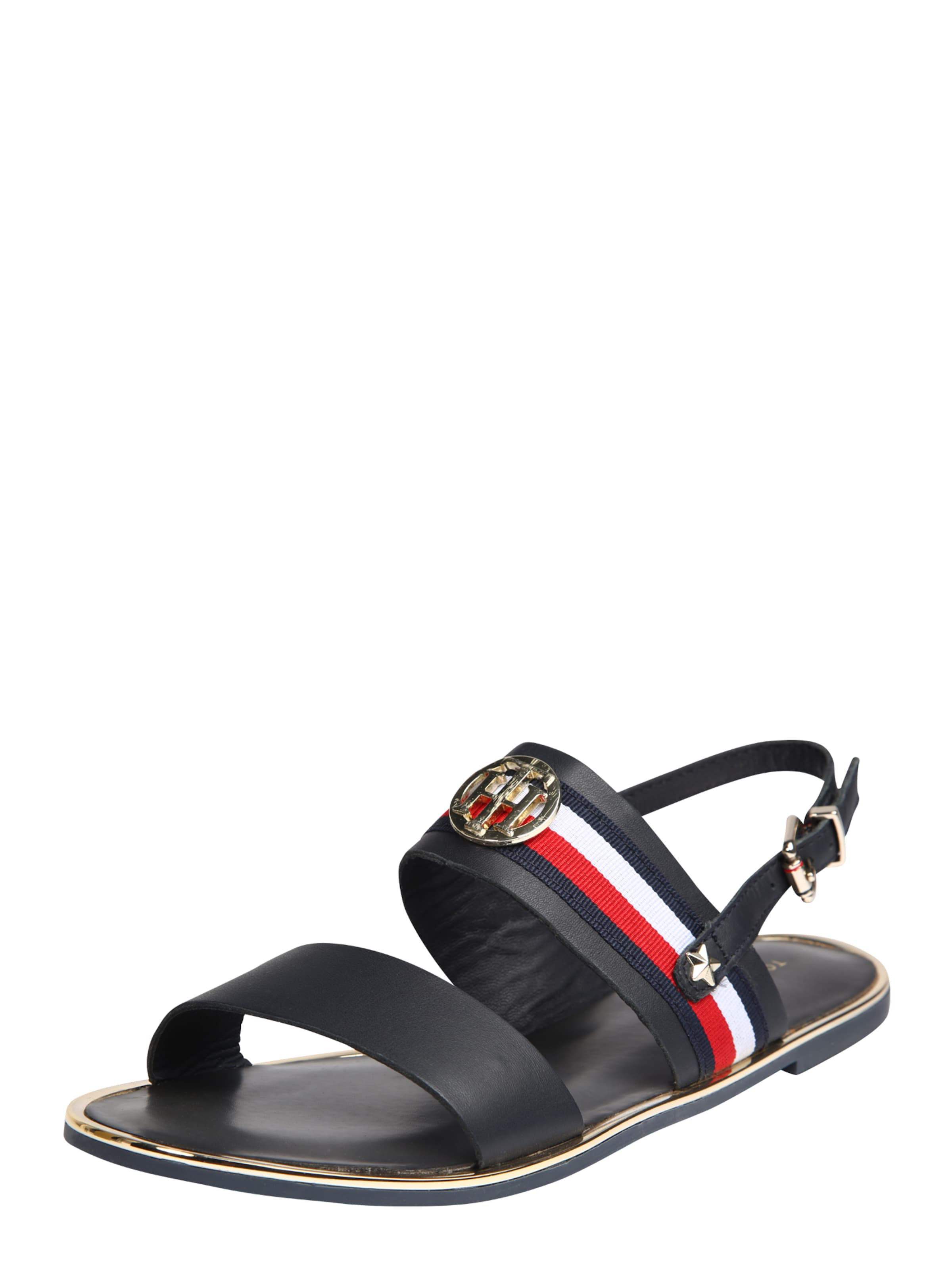 TOMMY HILFIGER | Sandale 'CORPORATE RIBBON FLAT' Schuhe Gut getragene Schuhe
