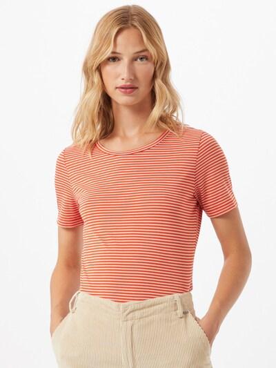 ARMEDANGELS Tričko 'LIDIAA' - oranžovo červená / biela: Pohľad spredu
