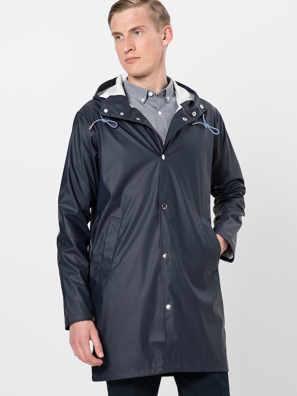 Apparel Foncé Mi En 'long Rain Jacket' saison Bleu Knowledgecotton Manteau byfgY67vI