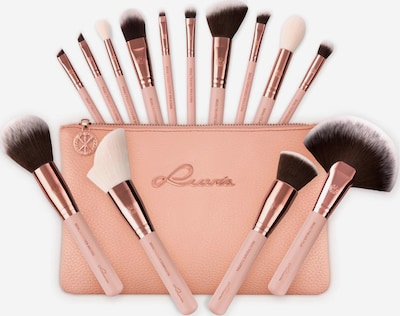 Luvia Cosmetics 'Essential Brushes - Rose Golden Vintage', Veganes Make-Up Pinselset mit Pinseltasche in rosegold / puder, Produktansicht