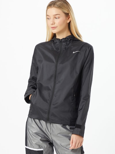 NIKE Sportjas 'Essential' in de kleur Grijs / Zwart: Vooraanzicht