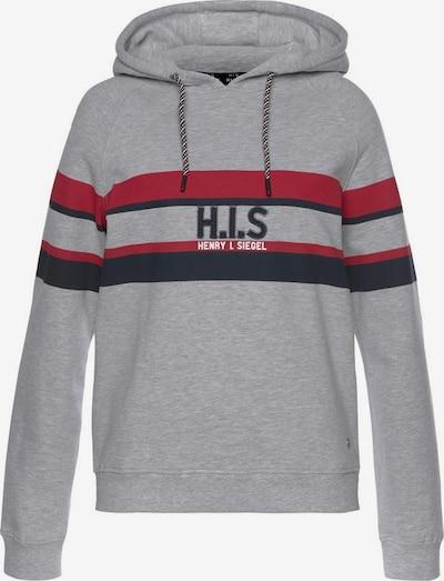 HIS JEANS Sweatshirt in blau / grau / kirschrot / schwarz, Produktansicht