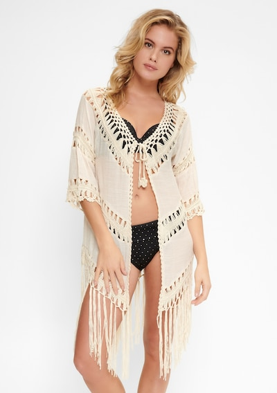 LingaDore COVER-UPS Kimono BEACH in beige, Modelansicht