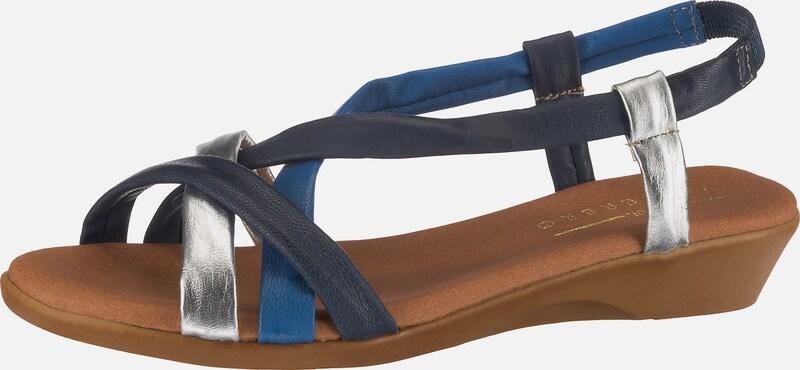 TAMARIS Sandalen in nachtblau braun weiß   ABOUT YOU