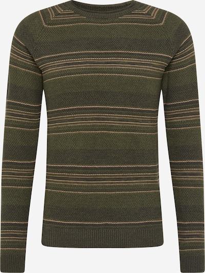 SELECTED HOMME Trui 'Damon' in de kleur Lichtbeige / Olijfgroen / Donkergroen, Productweergave