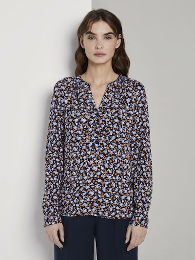 TOM TAILOR Bluse in nachtblau / hellblau / orange / weiß, Modelansicht