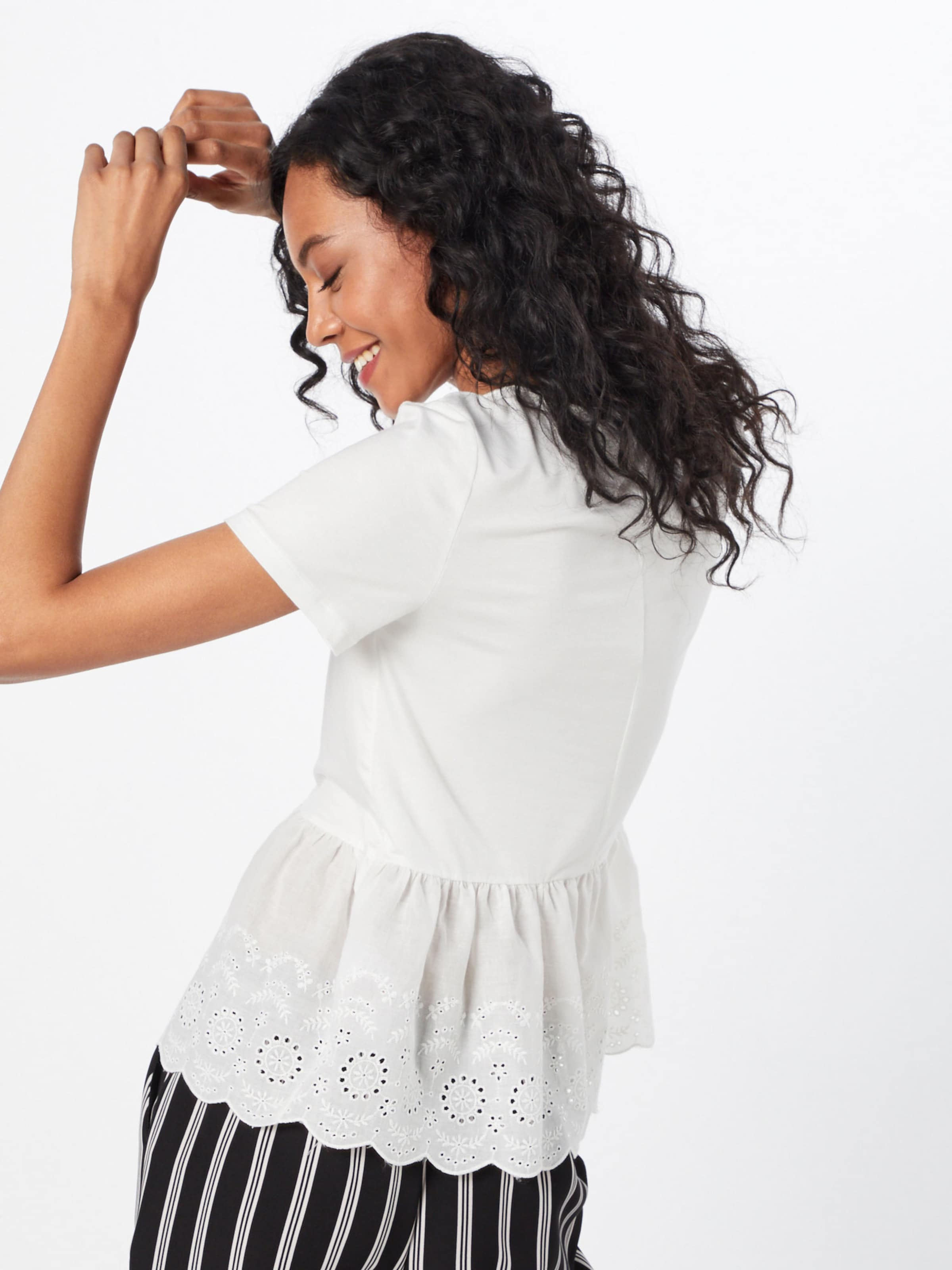 Mix En New Broderie Blanc Look Peplum 've Top' T shirt DEI9YWH2