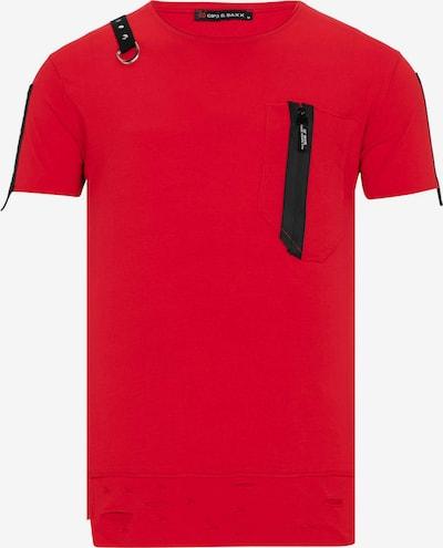CIPO & BAXX T-Shirt mit asymmetrischen Applikationen in rot, Produktansicht