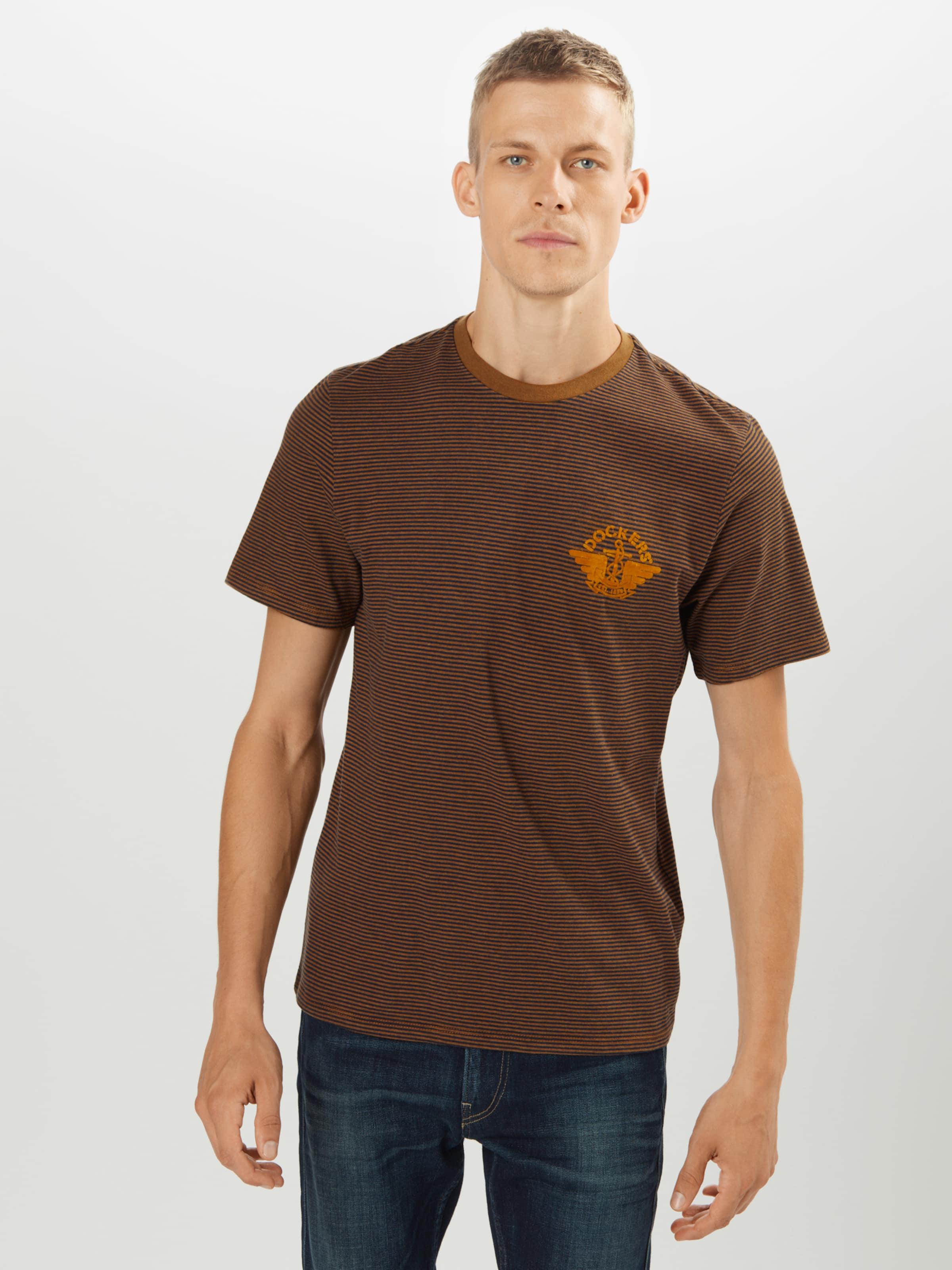 Dockers Shirt in dunkelblau / braun / honig Gestreift DOC0012007000001