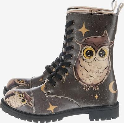 DOGO Schnürstiefel 'Owl Family' in beige / dunkelbraun / schwarz, Produktansicht