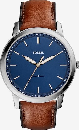 FOSSIL Analoog horloge in de kleur Donkerblauw / Bruin / Zilver, Productweergave