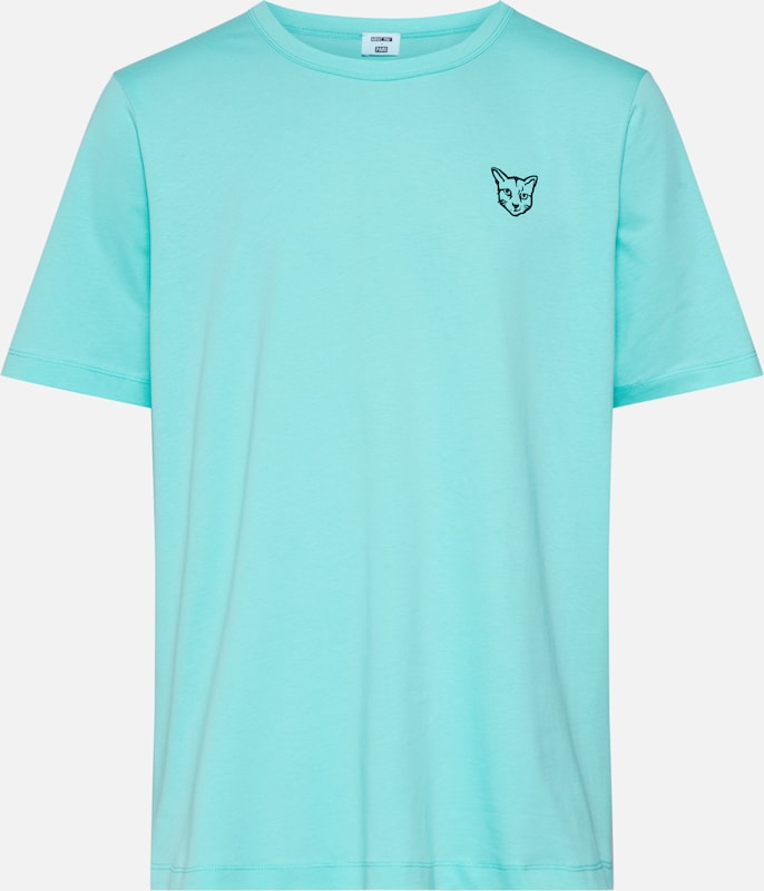 ABOUT YOU X PARI Shirt 'Jim' in de kleur Turquoise / Zwart: Vooraanzicht