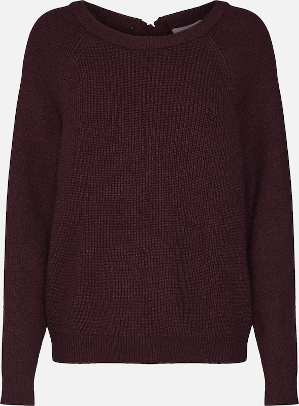 VILA Pullover 'VISIA KNIT LACED UP BACK L/S TOP' in bordeaux: Frontalansicht
