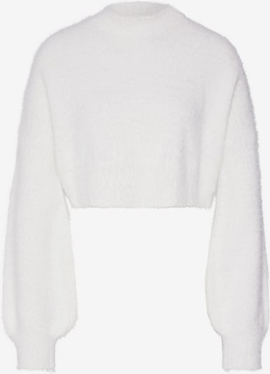 Missguided Trui 'HIGH NECK FLUFFY BALOON SLEEVE JUMPER' in de kleur Wit: Vooraanzicht