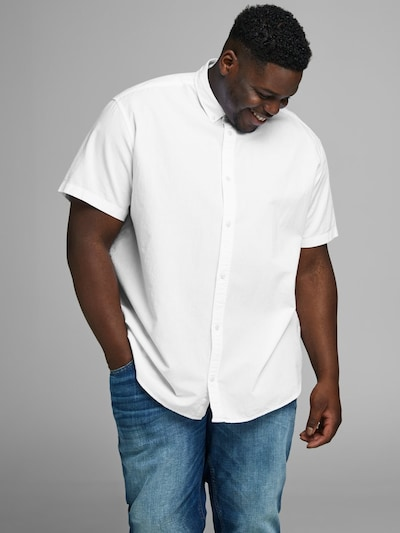 JACK & JONES Einfarbiges Plus Size Hemd in weiß: Frontalansicht