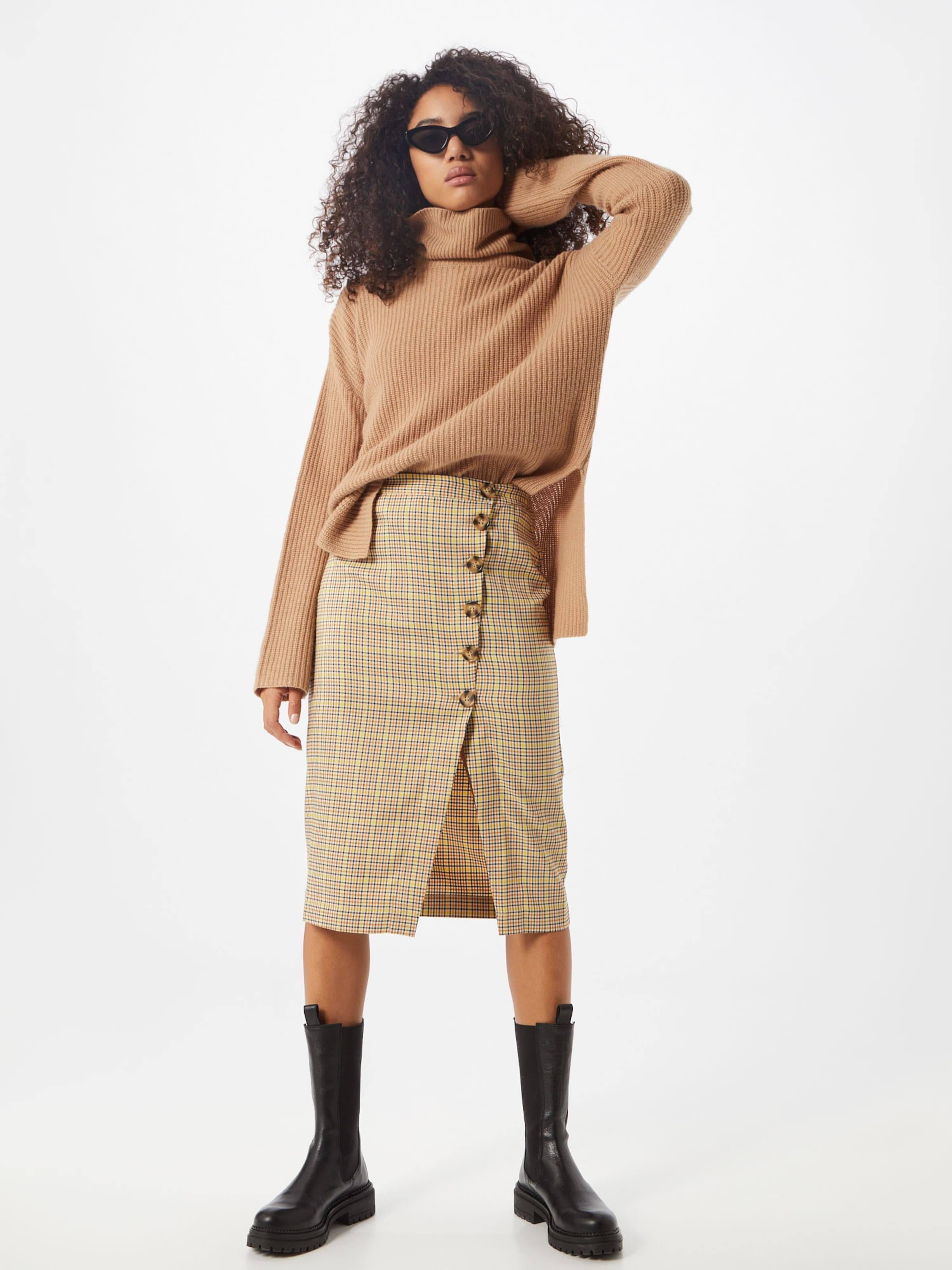Another Label Kjol 'Cleo skirt' i beige / svart