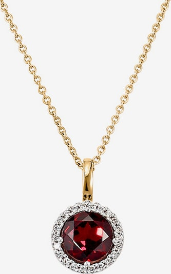 CHRIST Kette 'Granat 86476010' in gold / weinrot, Produktansicht