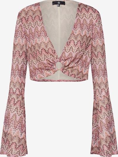 barna / rózsaszín / fehér Missguided Póló 'Chevron Print O ring Flared Sleeve Top Pink': Elölnézet
