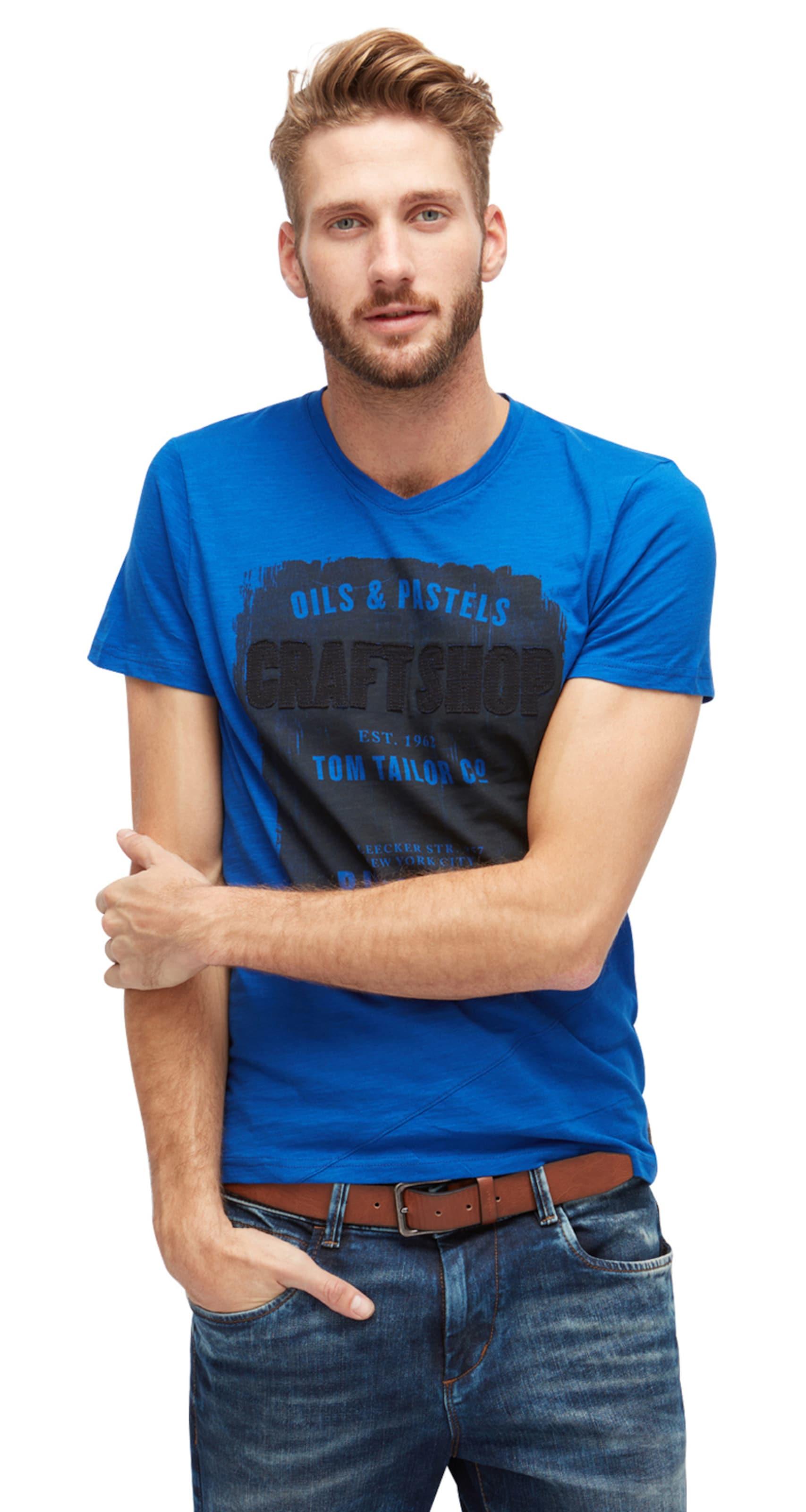 Aus Deutschland TOM TAILOR T-Shirt in Melange-Optik mit Print Billig Und Schön Verkauf Billig smrEIV