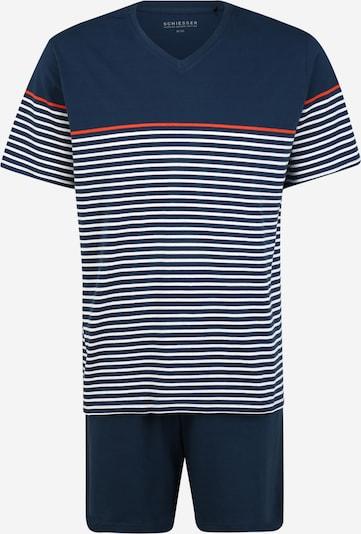 SCHIESSER Schlafanzug in dunkelblau / weiß, Produktansicht