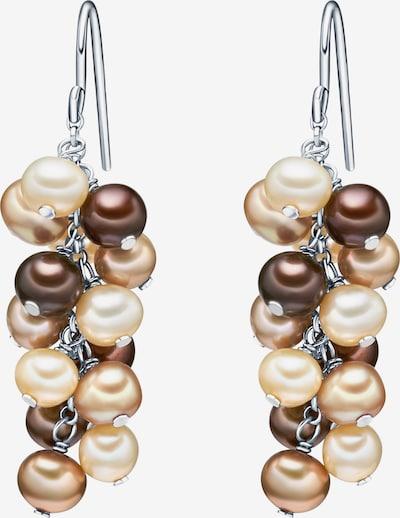 Valero Pearls Silberohrhänger mit Süßwasser-Zuchtperlen in beige / kastanienbraun, Produktansicht