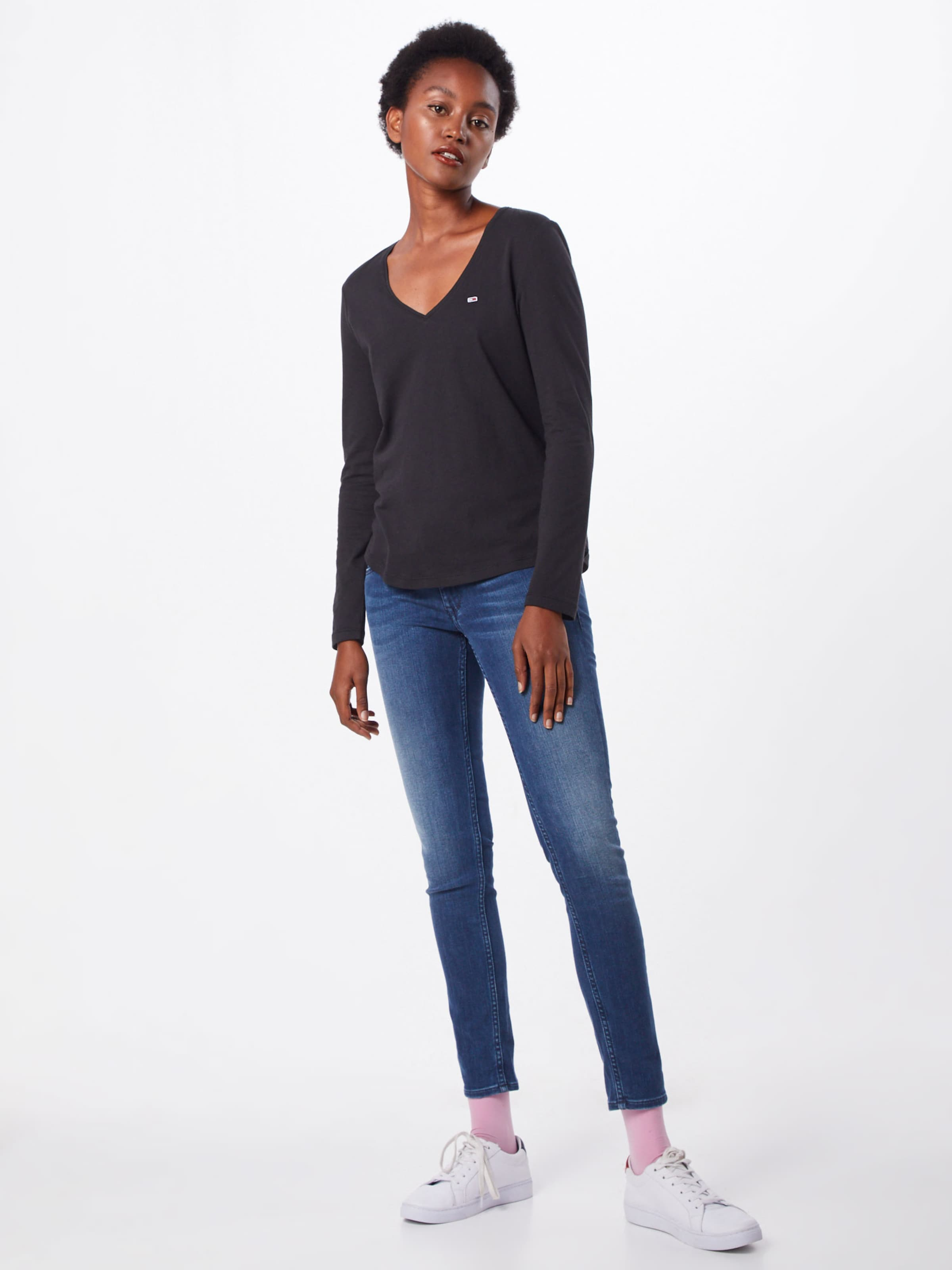 Schwarz Jeans neck Soft Tommy 'tjw Shirt V Longsleeve' In rxdCBoe