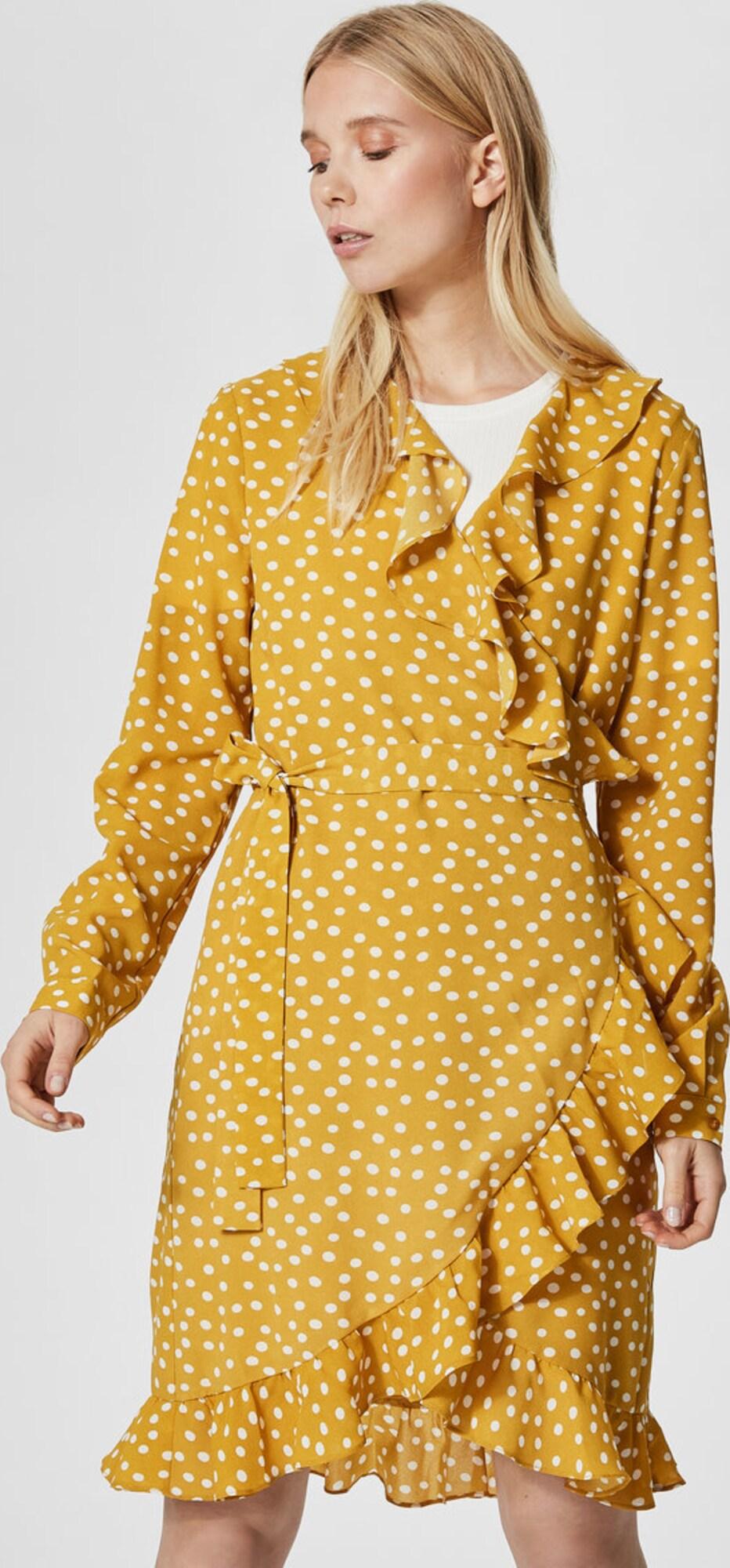 selected femme kleid mit langen rmeln wickel in gelb. Black Bedroom Furniture Sets. Home Design Ideas