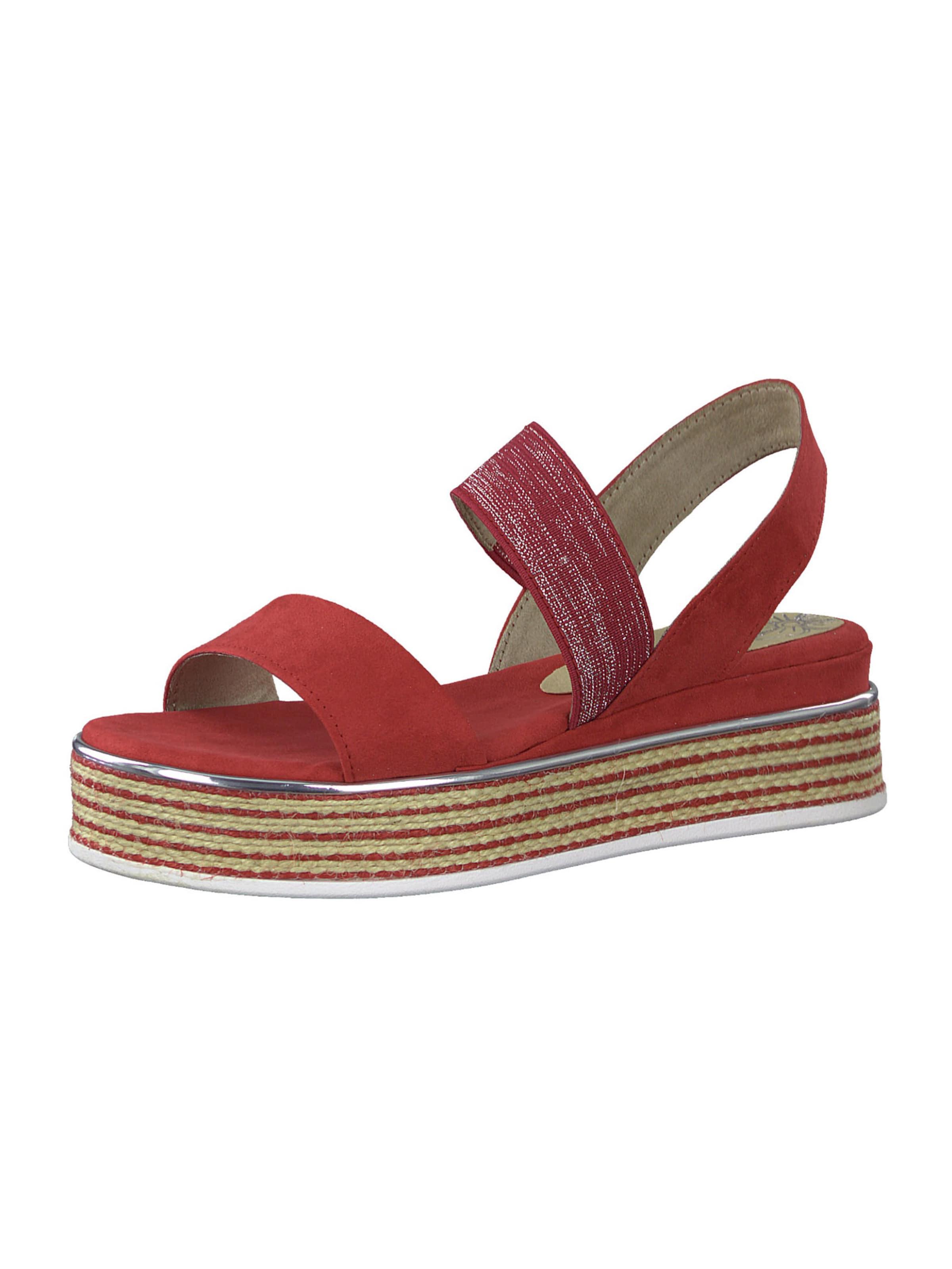 MARCO TOZZI Sandal i röd / silver