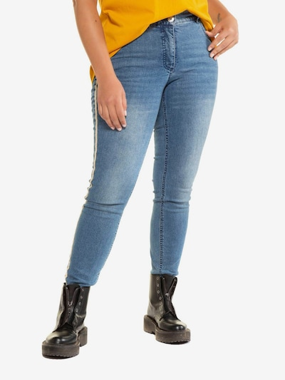 Studio Untold Jeans in blue denim / goldgelb, Modelansicht